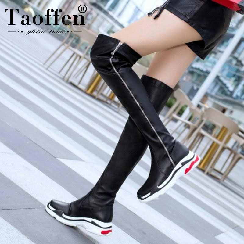 Taoffen Plus 29-46 Vrouwen Rits Platform Stretch Laarzen Over de Knie Laarzen Casual Vrouwen Platte Schoenen Winter Warm Bont modeschoenen