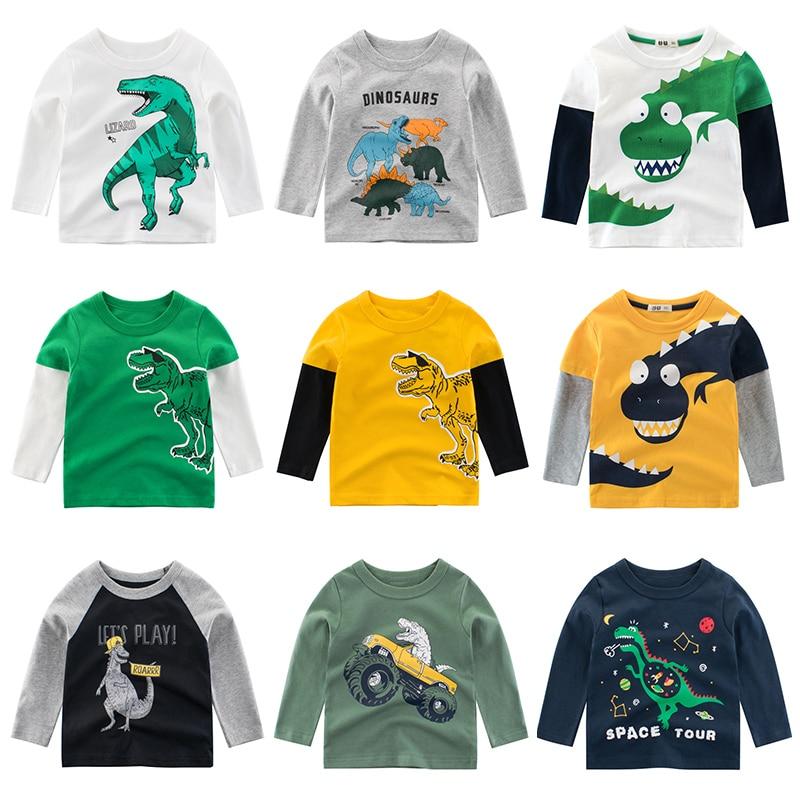 Kids Clothing T shirts Print Girls Boys Cotton Children Dinosaur shirt Baby Toddler Tops Cartoon Full  Long Sleeves  Clothes