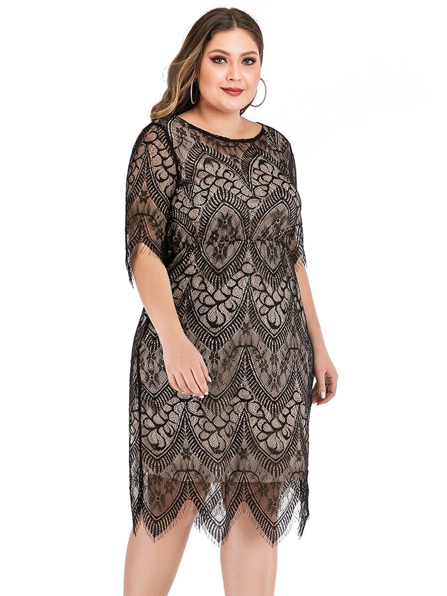 Elegant O Neck Half Sleeve Lace Floral Midi Dress Plus Size 3