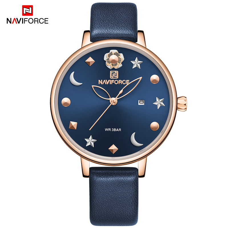 NAVIFORCE Watch Women Fashion Dress Quartz Watches Lady Leather Waterproof Wristwatch Simple Girl Clock Relogio Feminino 2020