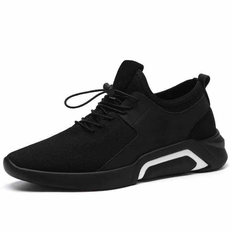 Men Shoes New Style Fashion Breathable Sneakers Men's Korean-style Stylish British-Style Versatile Mesh Shoes Black Sports And L