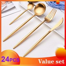 Spklifey Gold Fork Spoon Dinnerware Set Forks Knives Steel Cutlery Western 24pcs Stainless