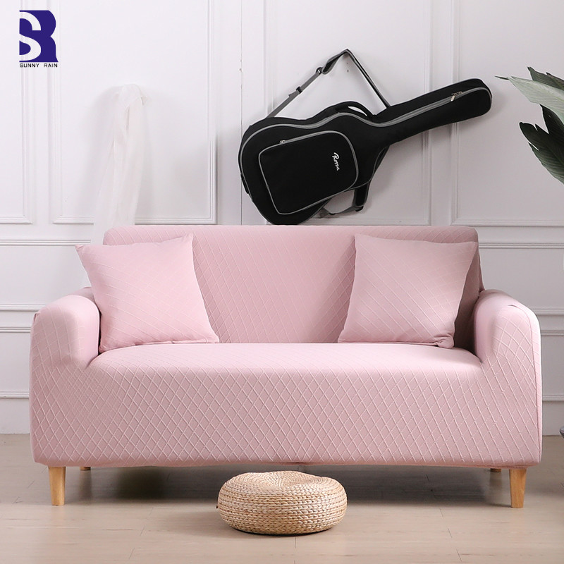 SunnyRain 1-Piece Jaquard Pink <font><b>Sofa</b></font> Cover for Living Room Stretch <font><b>Sofa</b></font> Covers I Shaped <font><b>Sofa</b></font> Slipcover Couch Sovers for <font><b>Sofa</b></font> image
