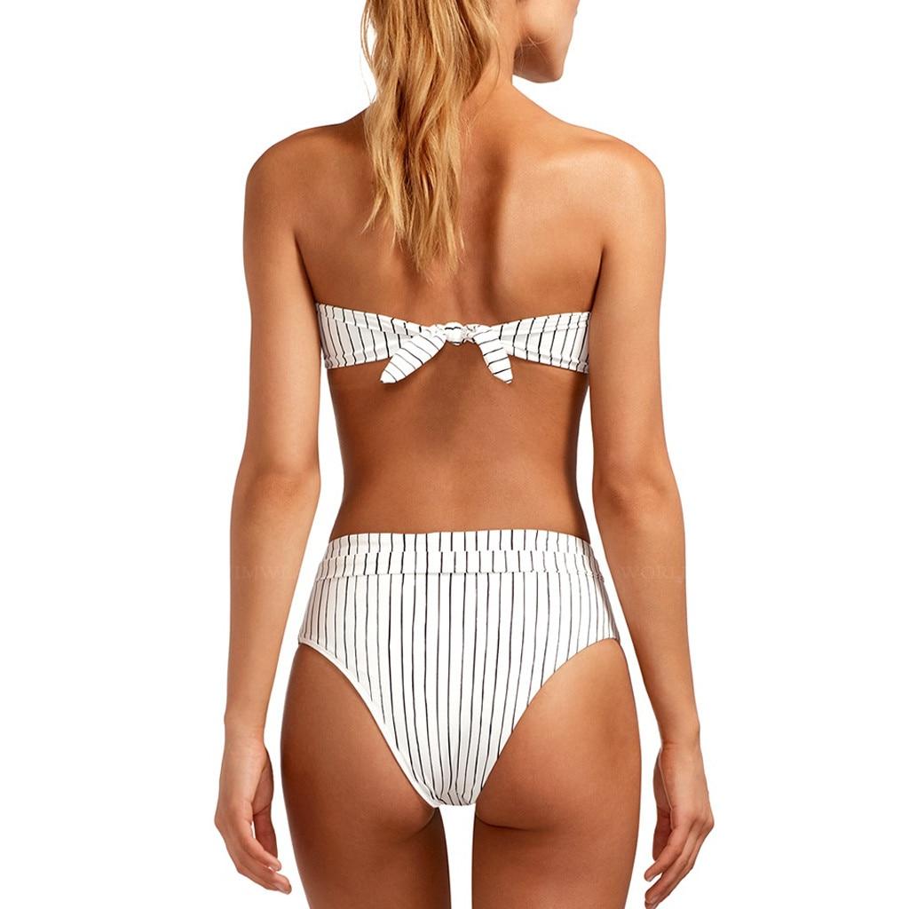 Sexy Striped Bikini Set Women Off Shoulder Bandage Bikinis Bathing Suit Summer Swimsuit Female Beachwear Monokini Swimwear#Y20 7
