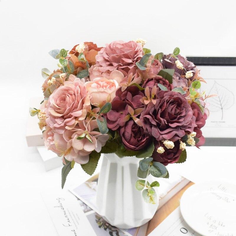 Один Букет искусственных цветов, цветок пиона, гортензии, Свадебные Рождественские украшения для дома, «сделай сам», украшение для гостиной