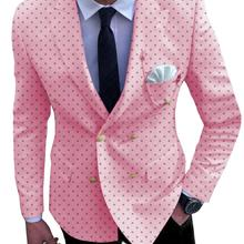 Formal Men's Suits Bussiness Prom Tuxedos One Piece Double Breasted Patterned Jacket