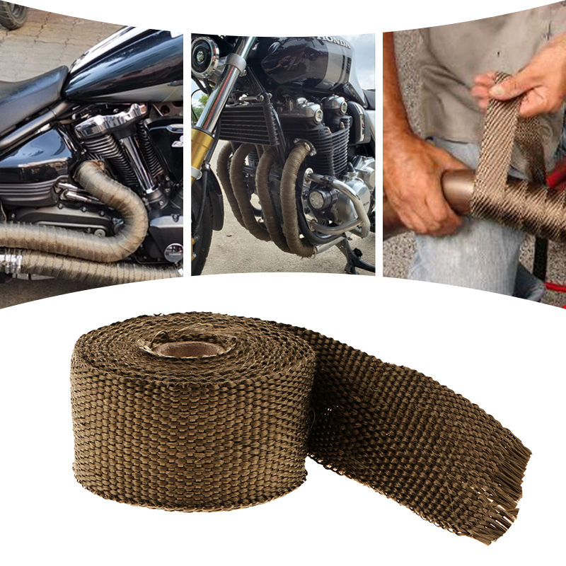 1 piece universal 5m motorcycle titanium header incombustible manifold exhaust wrap tape great performance brown 1 5mm 50mm 5m
