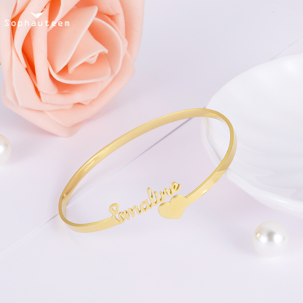 Персонализированный нержавеющая сталь золото индивидуальный имя буква браслет индивидуальный табличка манжета регулируемый браслет для женщин ювелирные изделия подарок