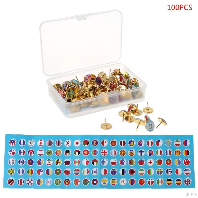 100pcs/box Map Tacks National Flag Glue Thumbtack Push Pins Notice Board Markers PXPA
