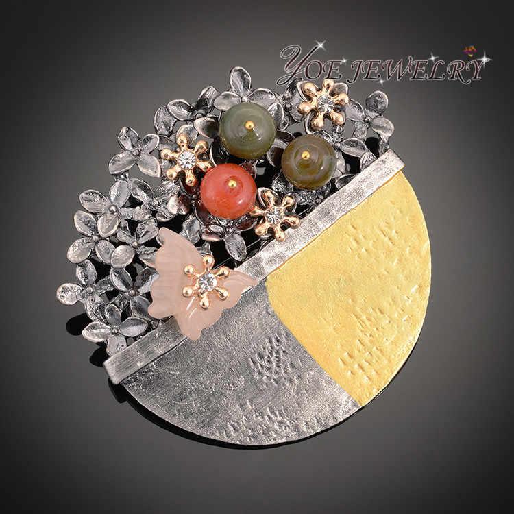 Iyoe Bulat Bunga Bros Liontin untuk Wanita Colorful Batu Alam Buket & Butterfly Bros dan Pin Vintage Perhiasan