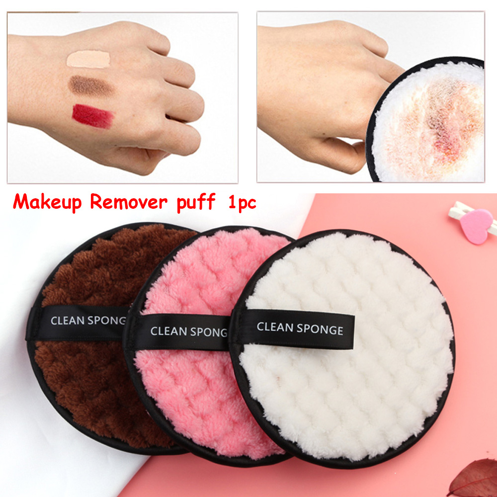 1Pc Soft Microfiber Sponge Makeup Removal Puff Reusable Face Cleaner Puff Women Makeup Remover Towel Magical Face Clean Tools(China)