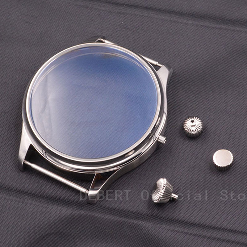 watch parts 44mm 316L stainless steel Case Sterile Case Watch Shell Kit ETA 6497 6498 Seagull <font><b>st3600</b></font> hand winding Movement image