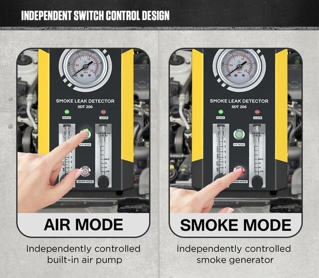 AUTOOL SDT206 Upgraded Car Smoke Leak Detector Locator 6L/Min DC12V Automotive Pipe Systems Leakage Diagnostic Smog Generator 3