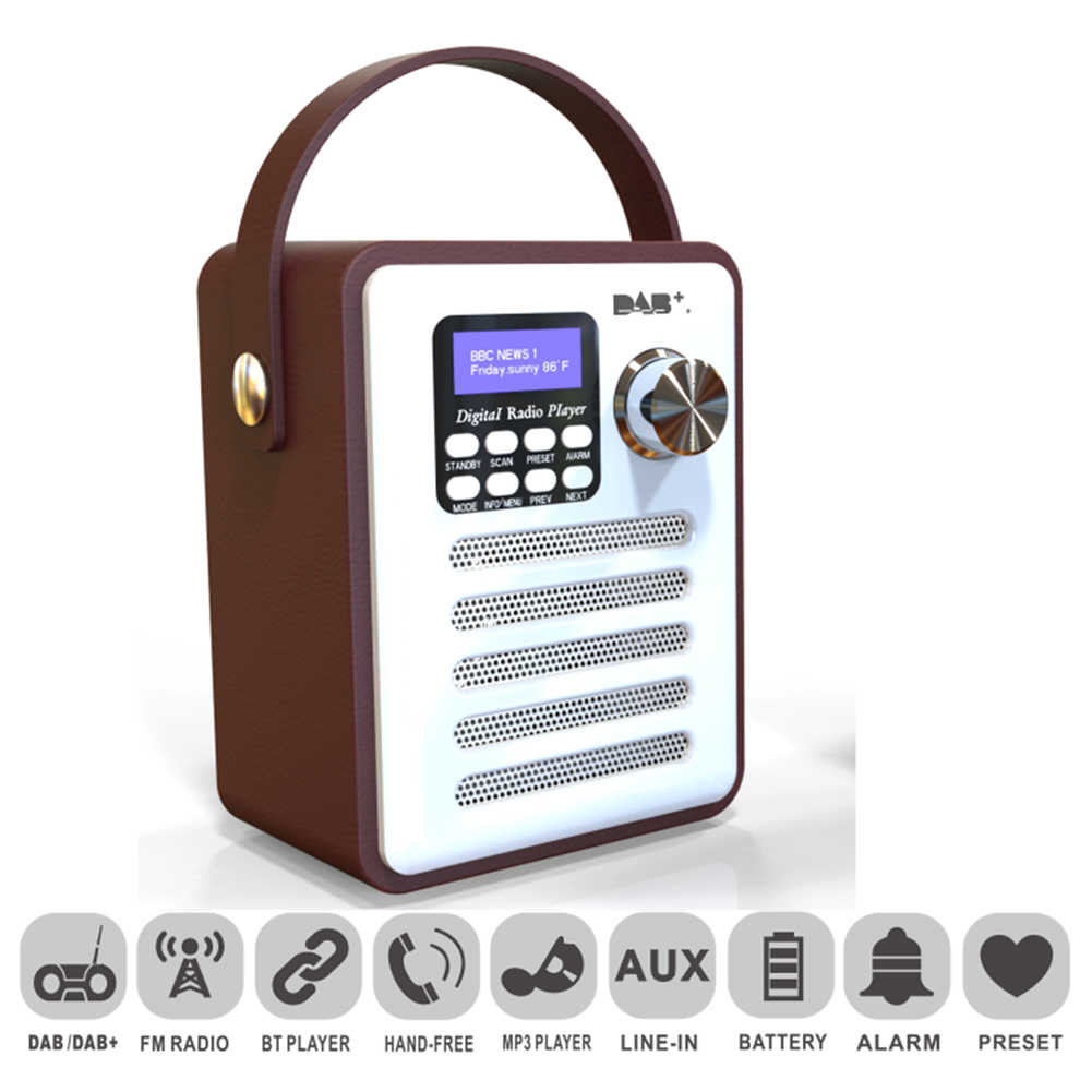 TUPFEN Freisprechen FM Empfänger Player Stereo USB Audio Digital Radio Retro MP3 LCD Display Tragbare Wiederaufladbare Bluetooth Holz