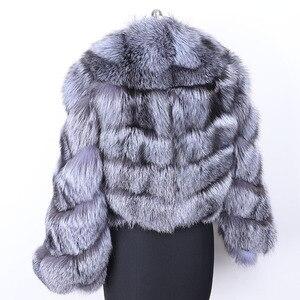 Image 3 - MAO mao KÔNG mùa đông thực cáo lông Áo khoác nữ vải dù tự nhiên thật cáo lông nữ áo khoác nữ áo Khoác Da Lót Lông
