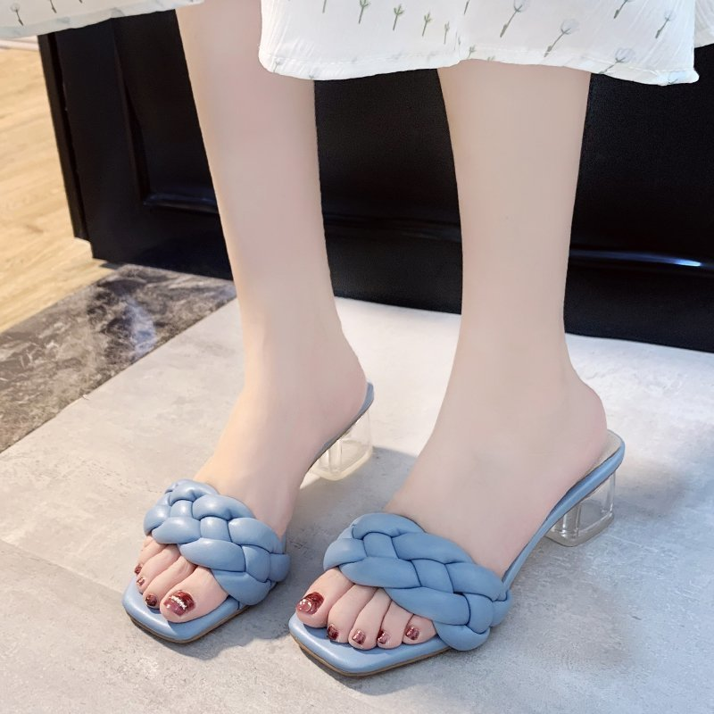 Transparent High Heels Sexy Ladies Woman Slippers New Summer Shoes Square Heel Weave Square Toe Slippers Ladies Leather Shoes 4