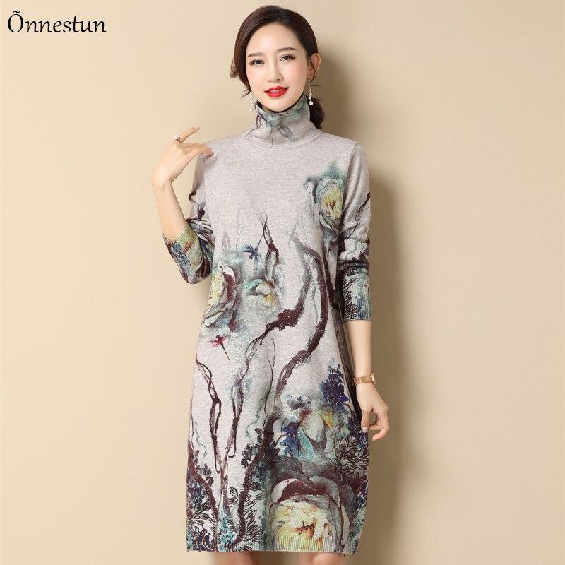 Turtleneck Long Sweater Dress Women Winter Fashion Long Sleeve Pullovers Print Pull Femme Jumper Plus Size Sweater Women