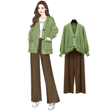 New Joker Lantern Sleeve V-Neck Sweater Coat Cardigan Wide-Legged Pants High Elastic Waist Loose Top Outfits Knitwear Couture v neck high low ombre knitwear