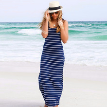 hot selling sleeveless fashion casual maxi tank dress sexy beach stripe summer women