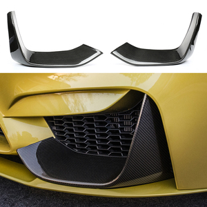 Carbon Fiber Front Bumper Fog Lights Corner Splitters Covers Trim for BMW F80 M3 F82 F83 M4 4Door 2014 Personalized modification(China)