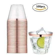 9 унций, 250 мл, 100 шт, розовое золото, пластиковые стаканчики, прозрачные одноразовые стаканчики, серебряные пластиковые стаканчики, свадебные, рождественские, вечерние, Необычные Коктейльные стаканы