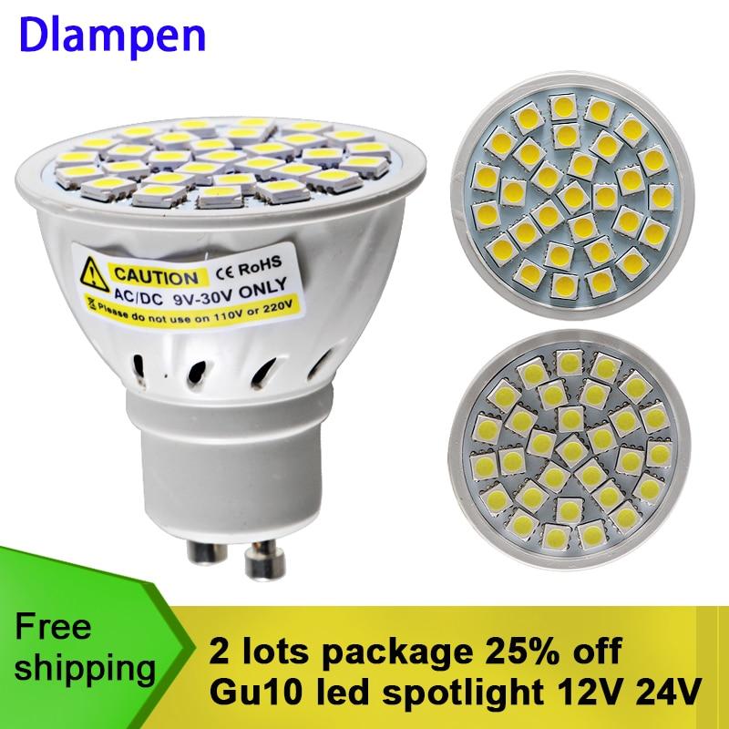 2 pièces gu 10 a mené le projecteur 4W Ac Dc 12v 24v ampoule smd 5050 30 leds Gu10 basse tension super maison plafonnier 180 degré ampoules