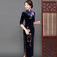 Exquisite Embroidery Flower Lace Qipao Female Mandarin Collar Half Sleeve Vestidos Sexy High Split Velour Cheongsam Plus Size