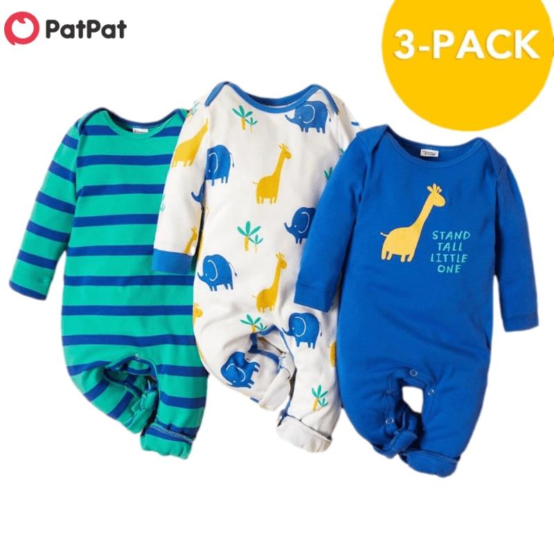 PatPat 2021 Новое поступление осень-зима 3 штуки в упаковке Детские Жираф комбинезоны, комплекты для маленьких мальчиков и одежда для девочек из одного предмета 1