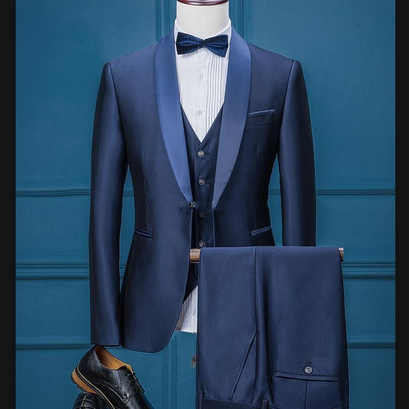 Three Piece Navy Blue Evening Party Mens Suits Male Shawl Lapel Trim Fit Custom Made Wedding Tuxedos (Jacket + Pants + Vest+Tie)