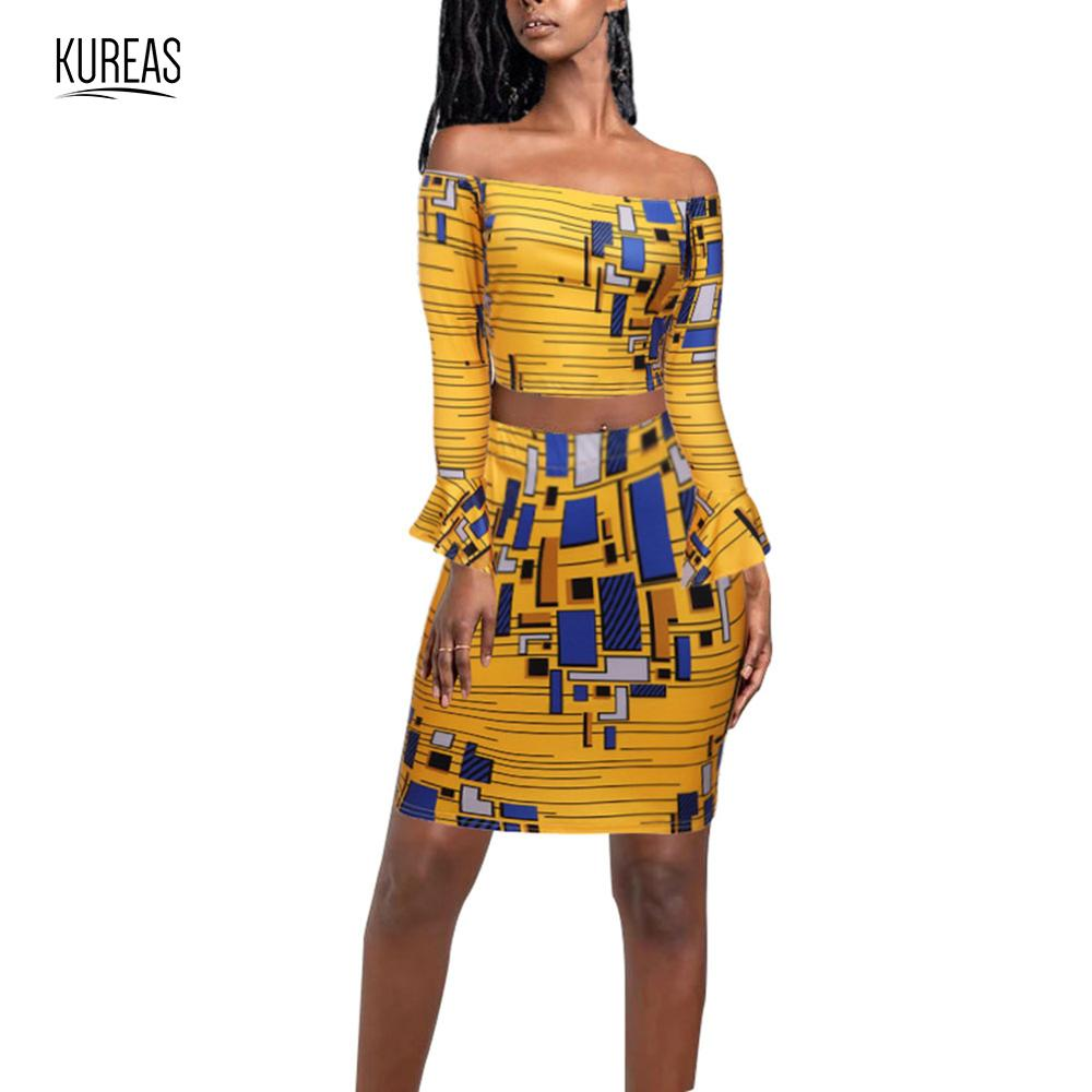 Kureas African Clothes Women National Dashiki Pattern Sexy Two Pieces Set Midriff Mini Skirt Outfit Off Shoulder Africa Clothing