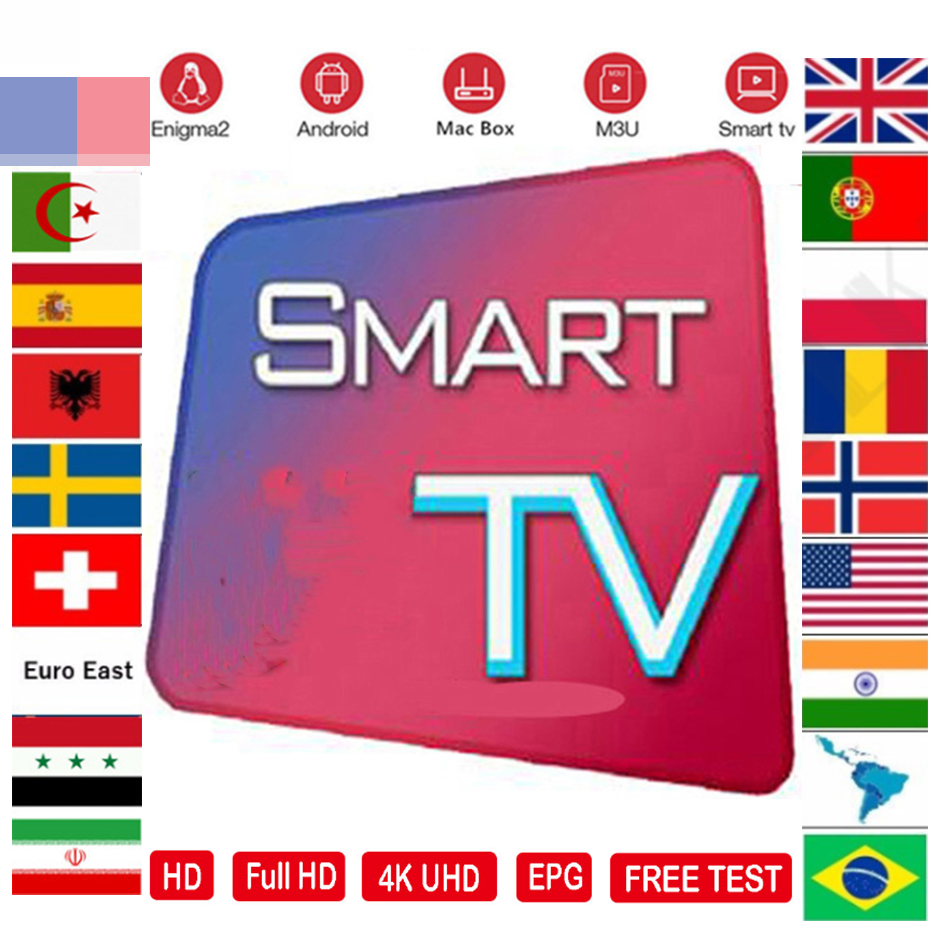 IPTV M3U Subscription Tv Program Andorid TV Box Portugal Arabic Spain Premium For Android Box Enigma2 Ssmart TV Box VLC