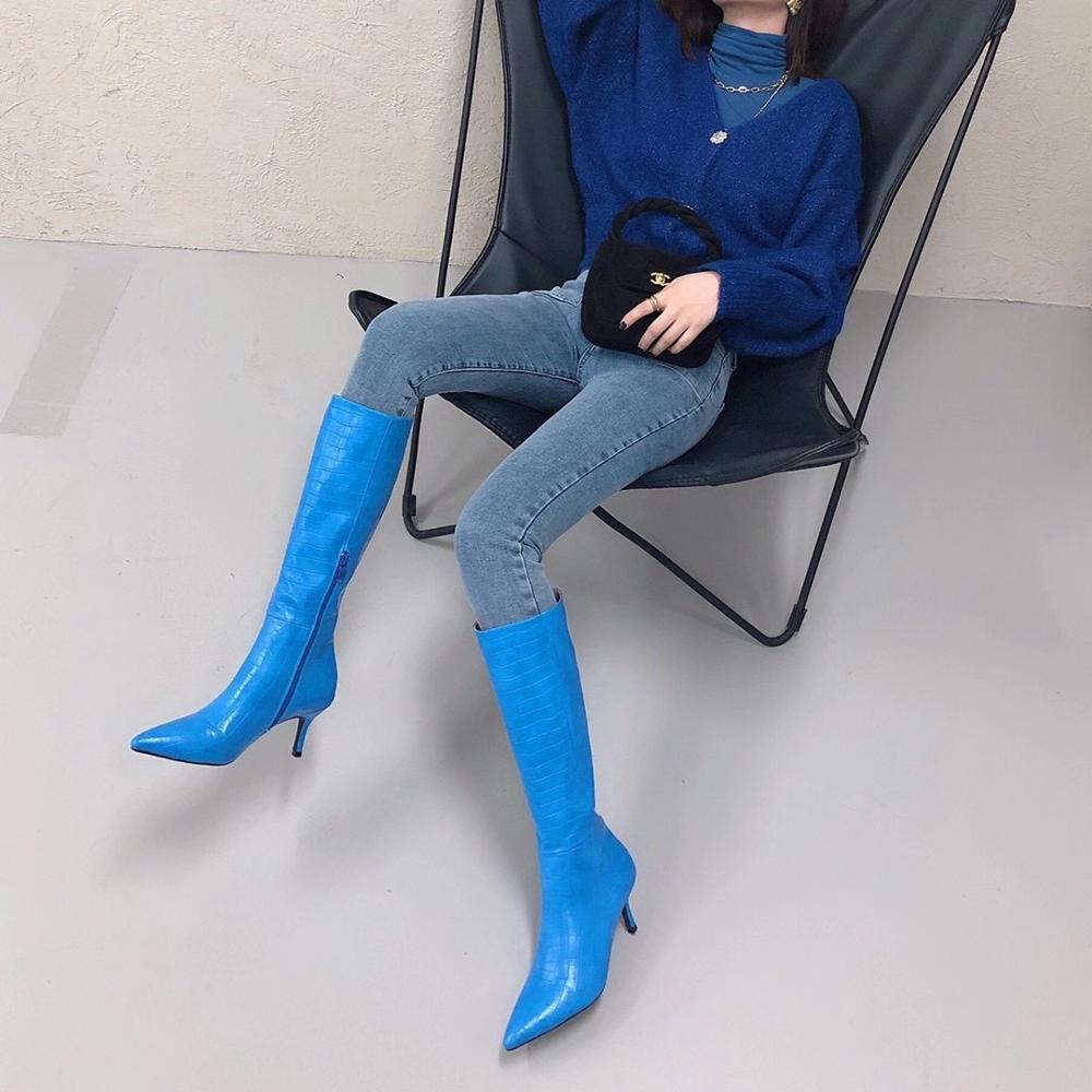 Stivali al ginocchio da donna di moda serpente stampato punta a punta cerniera laterale elegante tacchi alti stivali da cavaliere invernali marrone/blu/nero