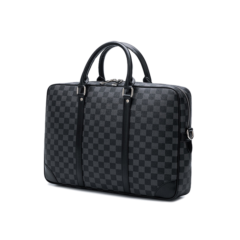 Europe And America Check Pattern  Business Briefcase Men Messenger Bag Travel Laptop Bag  Leather Briefcase Male