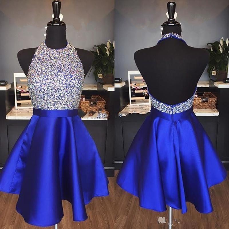 2019 bleu Royal Sparkly retour robes une ligne Hater dos nu perles courtes robes de soirée pour bal abiti da ballo personnalisé fou