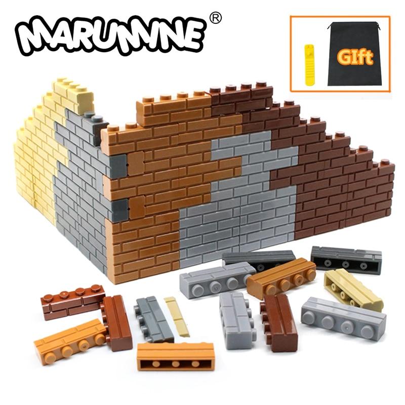 MARUMINE City Part 1x4 Dots Bricks 15533 Houses Wall Building Blocks Compatible Learning Classic DIY MOC Educational Toy SetStacking Blocks   -