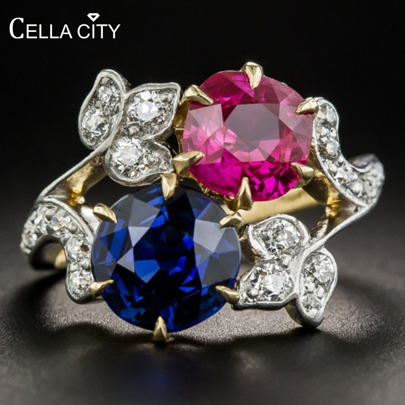 Cellacity Delicate Silver 925 Jewelry Gemstones Ring for Women Sapphire Ruby Flower Plant New design Fashion Jewelry Wholesale