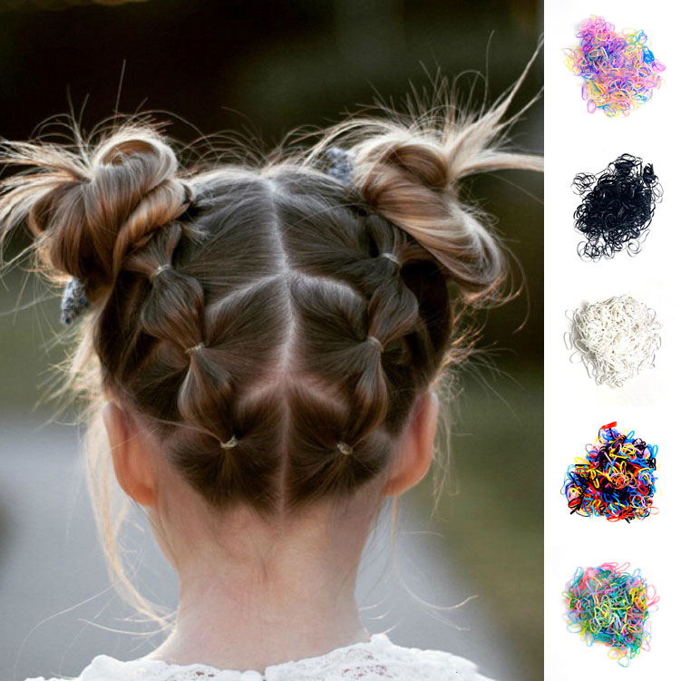 500Pcs Girls Colourful Disposable Elastic Hair Bands Rubber Band Scrunchies Kids Hair Accessories Cute Headwear Children