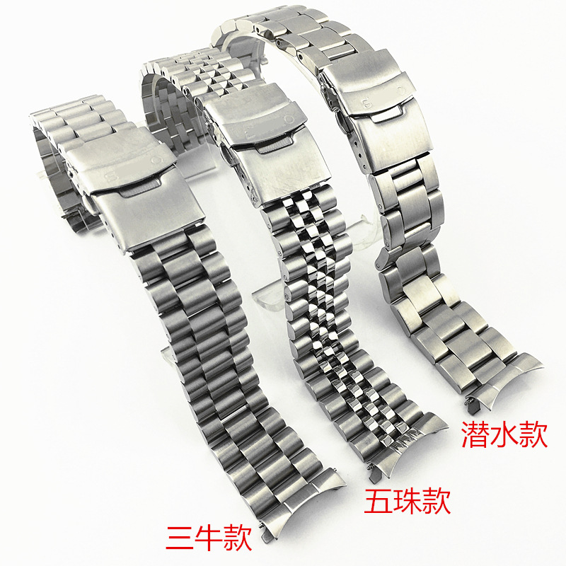 Fine SKX009 Series Steel Belt Solid Stainless Steel Watch Strap Wu Zhu Diviing Bovine Cyclic Steel Watch Bracelet 20 22mm Access