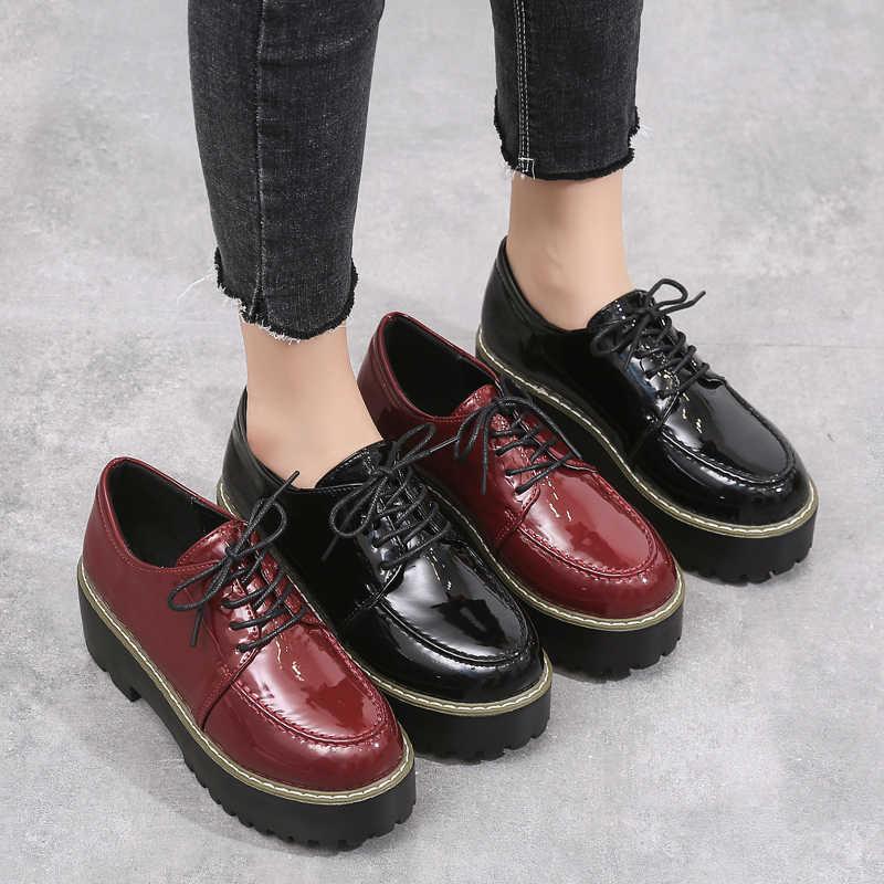 O16U otoño mujer pisos mujer plataforma de cuero Zapatillas Zapatos Mujer cordones Oxfords Punk casual enredaderas mocasines zapatos