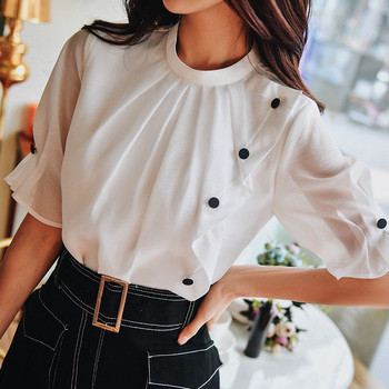 Dabuwawa Elegant White O-Neck Button Front Shirts Office Lady Half Sleeve Solid Slim Fit Blouses Women DT1BST007 dabuwawa elegant white v neck solid lace cutout blouse women tops short sleeve button front blouses shirts female dt1bla004