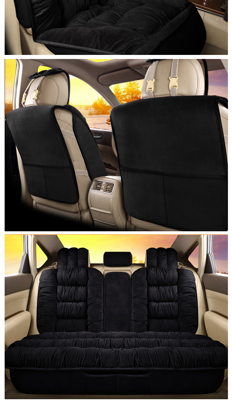 Thick Padded Plush Front Rear Seat Cushion Mat Protector Safe For Cars Auto Mats