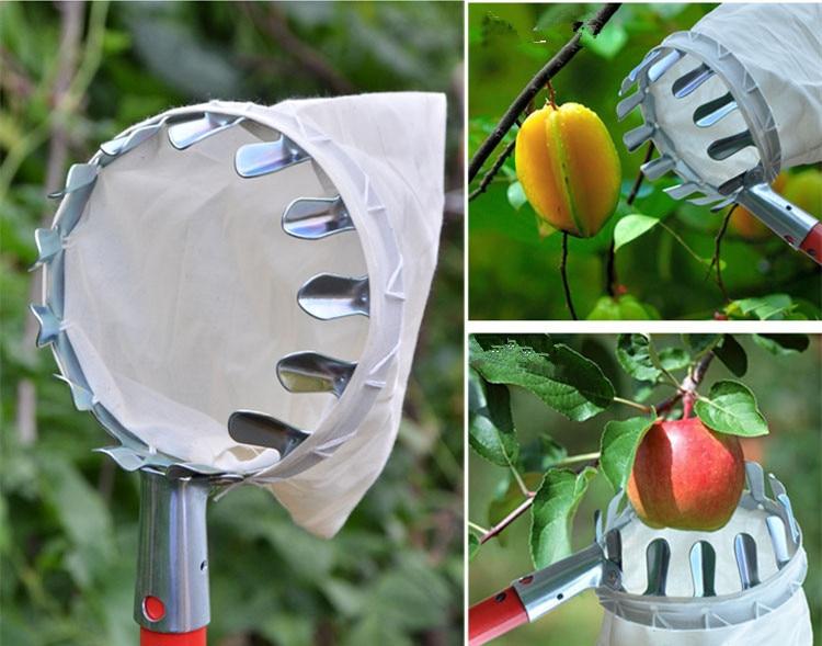 Metal fruit picker, agricultural garden hardware tool high altitude fruit picker portable fruit picker