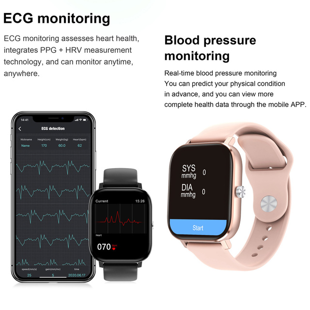 2020 HD 1.75 Inch Smartwatch Men full touch Multi-Sport Mode VS P8 Smart Watch Women Heart Rate Monitor For iOS Android 4