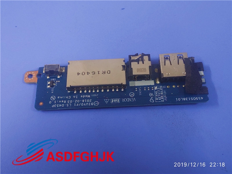 USB Audio Jack Board For Lenovo Ideapad Flex 4-1570 USB LS-D453P 100% Perfect work