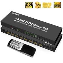 6 × 2 HDMI マトリックススイッチ 4 4kx2k 2 18K 6 で 2 アウト HDMI マトリックスモニタースプリッタスイッチャーとリモコン SPDIF + 3.5 ミリメートルオーディオ抽出