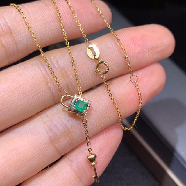 shilovem 18k yellow gold real Natural emerald Gemstone pendants plant women  necklace new Christmas Gift  dz09999933ml 5