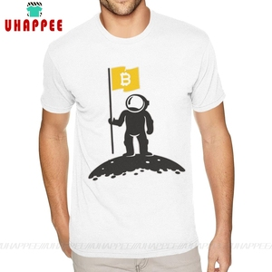 Cool Shirt Designs Bitcoin To The Moon Tee Shirt for Men S-6XL Short Sleeved Full Cotton White Crew Neck Tees(China)