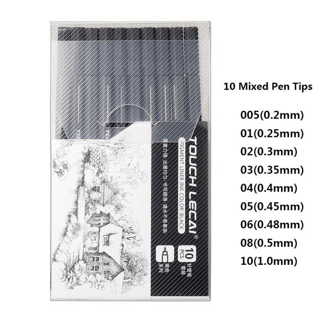 10 Pcs/Set Pigment Liner Micron Ink Marker Pen 0.05 0.1 0.2 0.3 0.4 0.5 0.6 0.8 1.0 Brush Tip Black Fineliner Sketch Drawing Pen 5