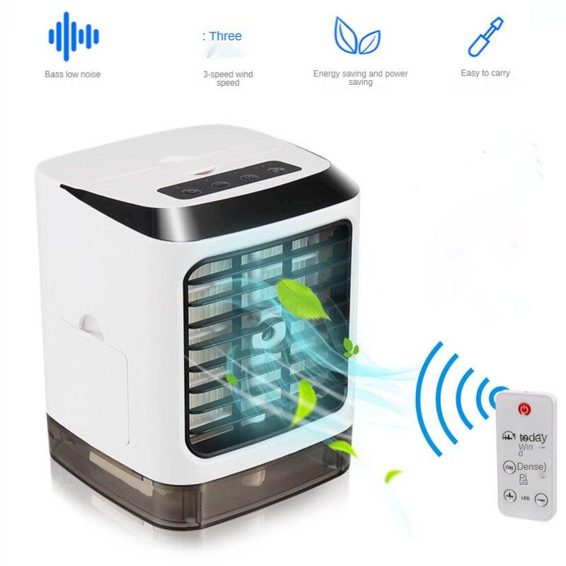 Mini condicionador de ar usb ventilador de mesa conveniente controle remoto refrigerador de ar com função de pulverização umidificação ventilador de mesa elétrico
