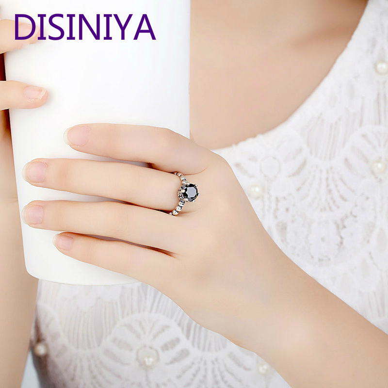 DISINIYA Silver Color Finger Ring with Black Cubic Zirconia For Women Fashion Wedding Jewelry PA7205 in Engagement Rings from Jewelry Accessories